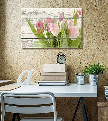 Pink and Green Tulips Flowers Artwork Rustic