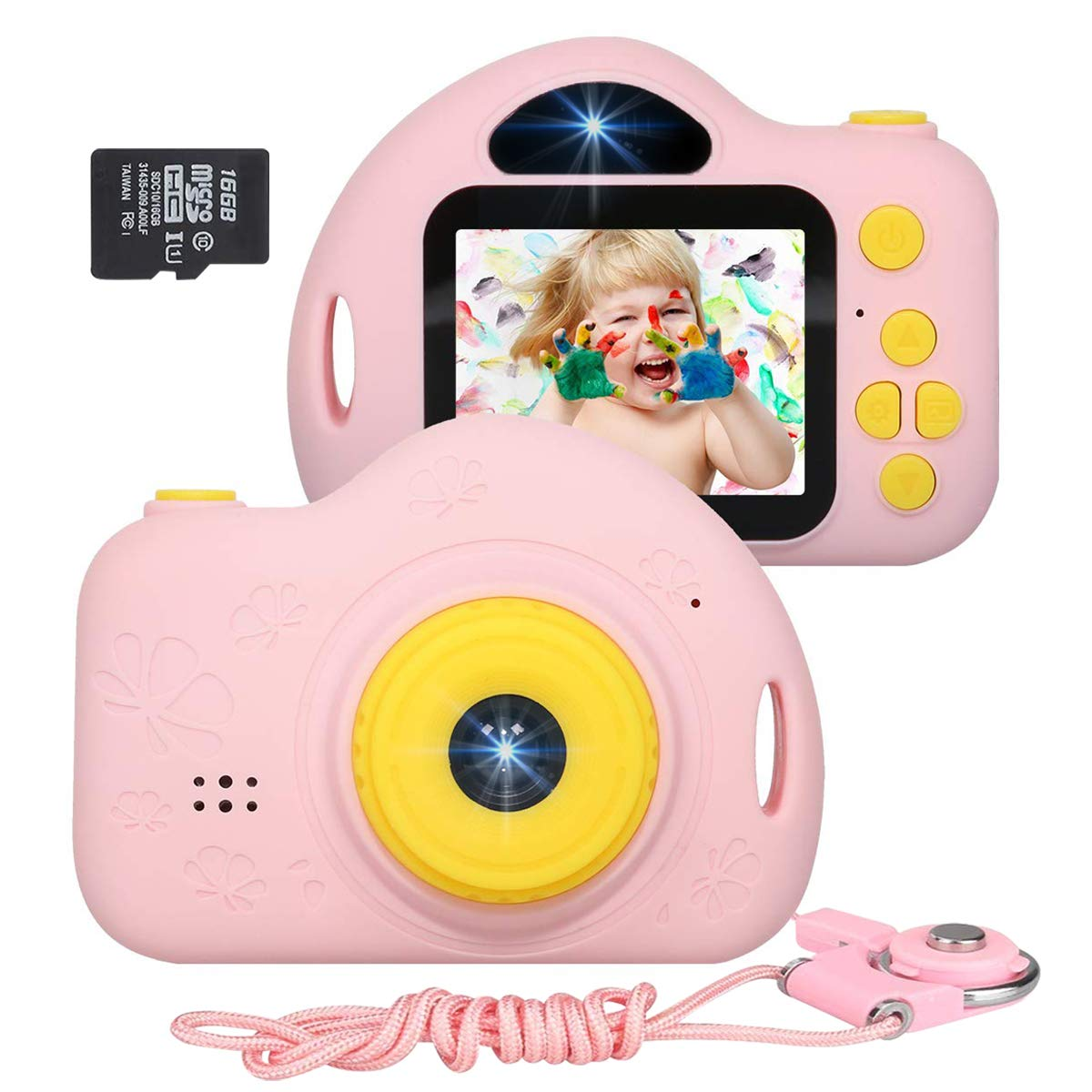 B07VK7C3WD JLtech Kids Camera, Digital Video Recorder Camera for Girls, Rechargeable Shockproof Mini Children Camera Toys with 16GB Card Included, 2019 Newest Version (Pink), JLtech002 61HPsKX-NuL