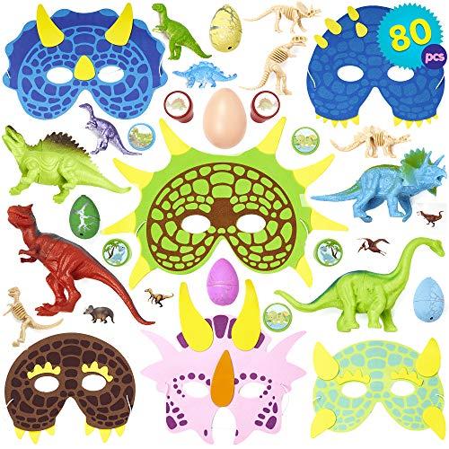 THE TWIDDLERS Conjunto de 80 Granel Juguetes de Mini Dinosaurios Surtidos – Amplia selección – Ideal para Bolsas Regalo de Fiesta – Rellenos de piñata – Fiestas temáticas de Dinosaurios y Eventos