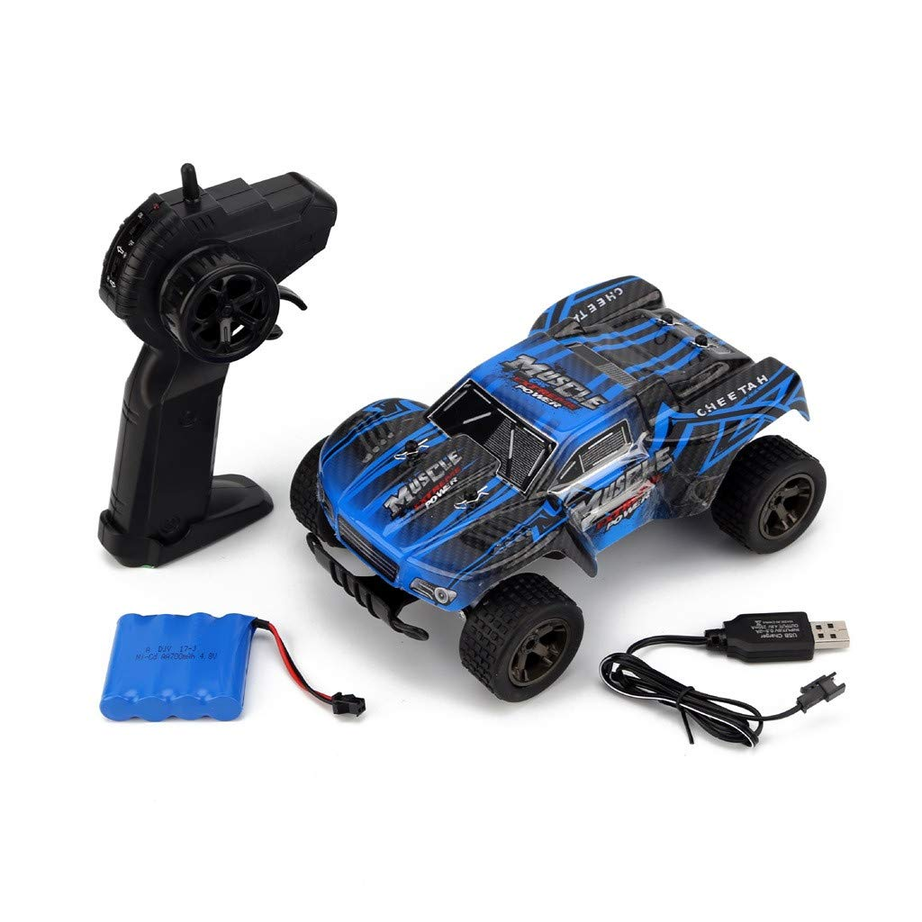 Hot  1:18 Scale All Terrain RC Car 20KM/H High Speed, Turning Left & Right Climbing Off-Road Vehicle, 2.4G RC Car Toys for Kids Age 8 (♥ Blue)