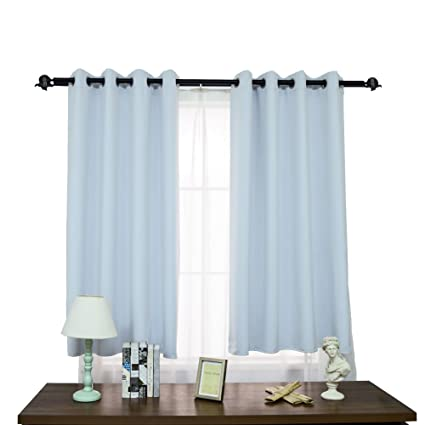 JIANGJUE Blackout Curtains Bedroom 2 Panels Short Curtains Small  Window/Living Room Tier Curtains Thermal Insulated Grommet (Incanus, 52W84L)