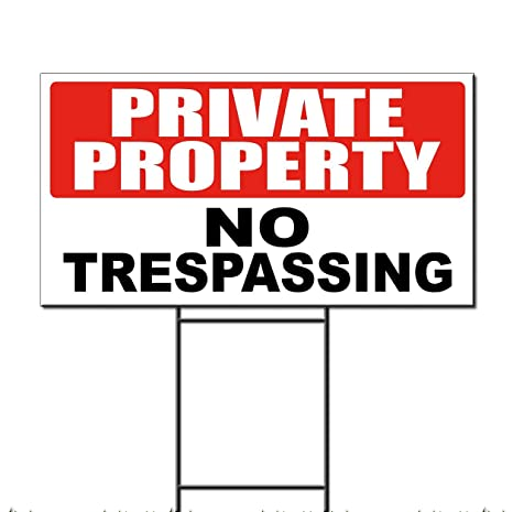 graphic about Printable No Trespassing Sign identify Personal Dwelling No Tresping Corrugated Plastic Back garden Indication /Cost-free Stakes 18 x 24 Inches A single Aspect Print