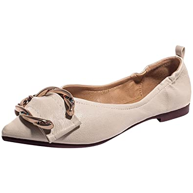 f12bb17e8 Mashiaoyi Women's Pointed-Toe Flat Slip-on Metal Diamond Ballet Flats 4 US  Beige