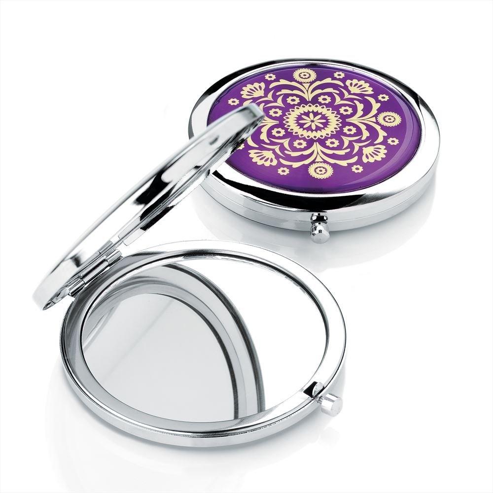 Shiny Rhodium And Purple Colour Compact Mirror With Gold Colour Design PC24750