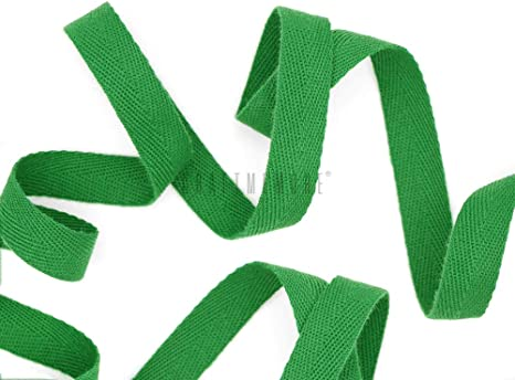 CRAFTMEmore 1 Inch Twill Tape Fabric Ribbons Webbing Herringbone Twill Bias Binding Tape for Clothes Sewing Craft Trim Lace 18 Yards MP19 Kelly Green