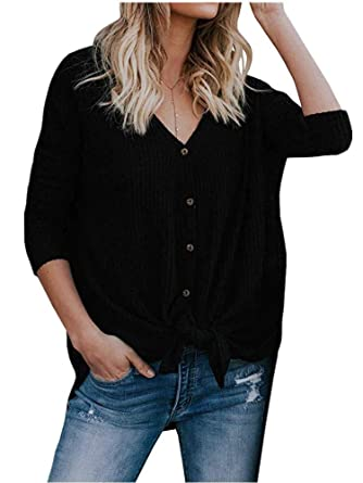 8cb3c9dac Womens V Neck Button Down Thermal Knit Henley Tops Casual Ribbed Blouse  Shirt Black