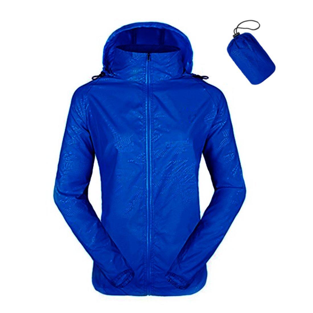 ZIMCA Unisex Packable Lightweight UV Protect Jackets Outdoor Windbreaker Quick-Dry Skin Rain Coat (Women M/Men S, Royal Blue)