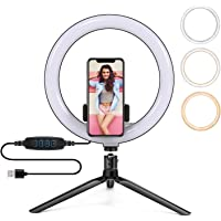 PTN 10 inch Selfie Ring Light, with a Tripod and Phone Holder, 10 Brightness Levels & 3 Color Modes, for Live Stream…