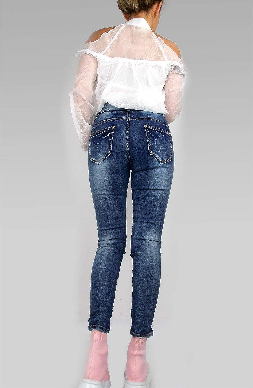 Mozzaar Damen PushUp Jeanshose blau verwaschen Superstretch Knopf Reißverschluss