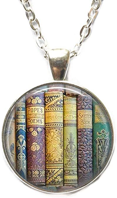 Gift for Writer Book Necklace Literary Librarian Gift Library Necklace or Key Chain Book Lover Gift Book Necklace