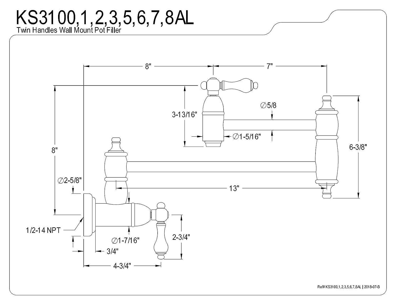 13 Length Kingston Brass KS3106AL Restoration Pot Filler Polished Nickel