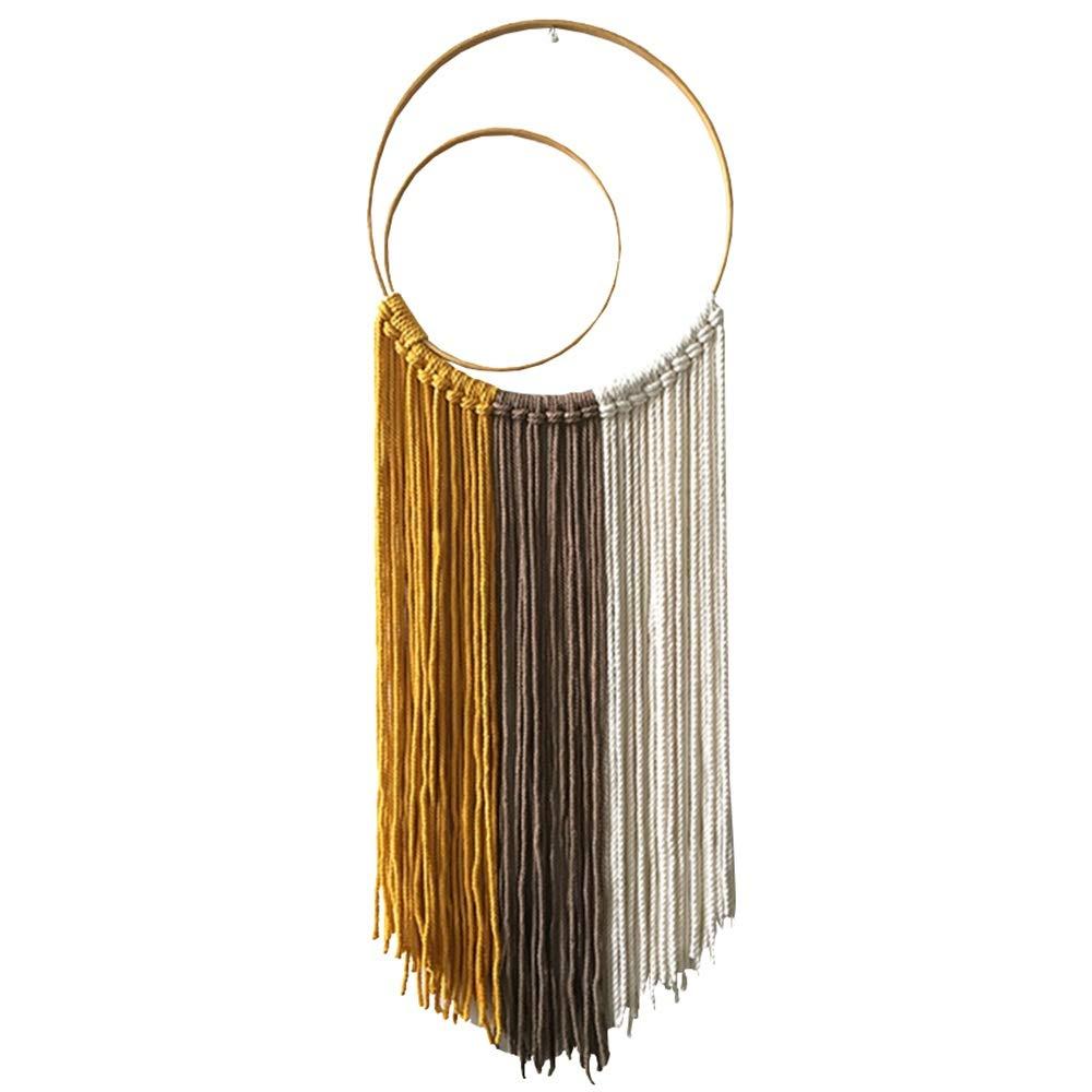 CHUNLAN 手織り染めタペストリー、フープリングドリームキャッチャー、リビングルームのベッドルームスタディデコレーション、30 * 90 cm B07QN4Z89H