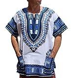 RaanPahMuang Brand Unisex Bright African White Dashiki Cotton Shirt #18 Navy XX-Large
