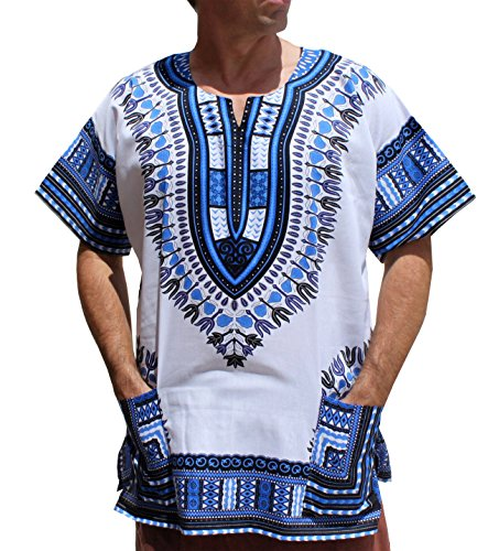 RaanPahMuang Brand Unisex Bright African White Dashiki Cotton Shirt #17 Navy - Warehouse Brand