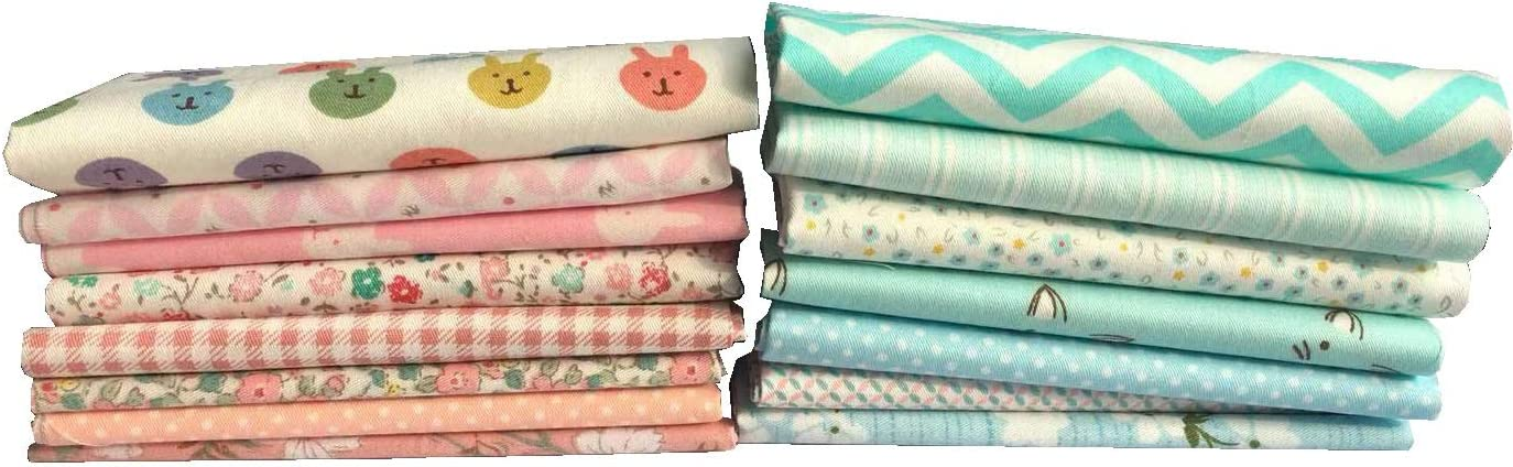 24cm Different Patterns and Color Cotton Patchwork Fabric Bundle Squares Quilting Scrapbooking Sewing Artcraft Bag Handbag Making Project Fabric RayLineDo/® Pack of 15 X 24cm