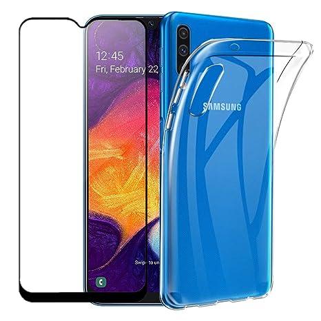 Protectora de pel/ícula de Vidrio Templado 360 Grados Ultra Delgado 3 en 1 Case-Azul Negro JOYTAG compatibles para Funda Samsung Galaxy A50 Carcasa