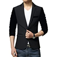 Vividda Men's Business Suit Short Classic Jacket Blazer Long Velour Sleeves with Contrast