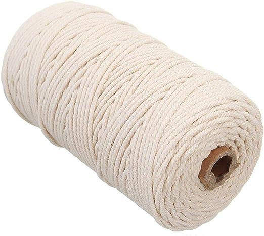 Behavetw Cuerda Trenzada de algodón Natural de 3 mm x 200 m para ...