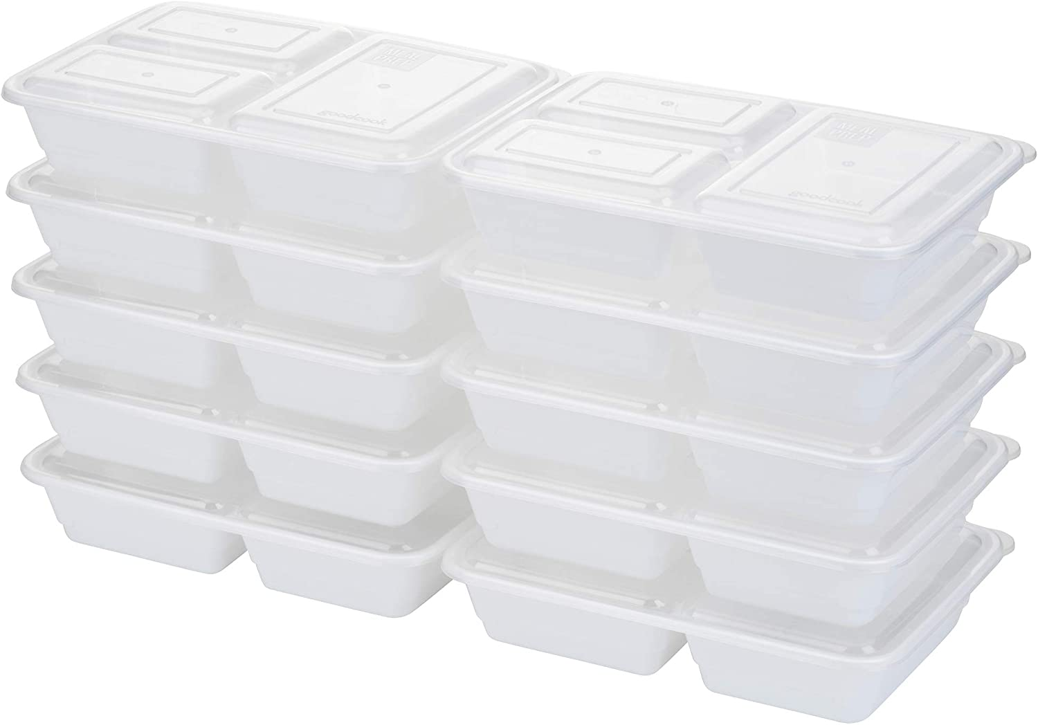 Good Cook 10785 Meal Prep, 3 Compartments BPA Free, Microwavable/Dishwasher/Freezer Safe, White