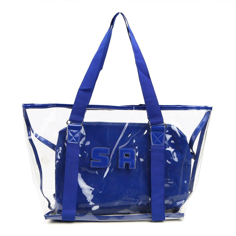 Zicac Women's Summer Beach Clear Shoulder Handbag Transparent Tote with One Insert Bag (Blue)