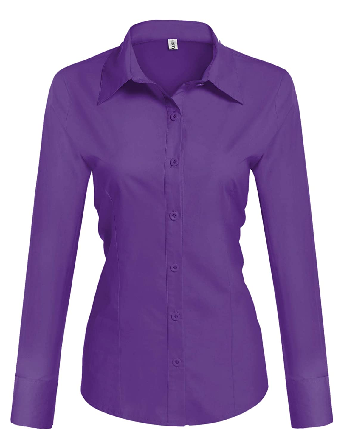 Hotouch Womens Long Sleeve Cotton Basic Simple Button Down Shirt Slim Fit Formal Dress Shirts