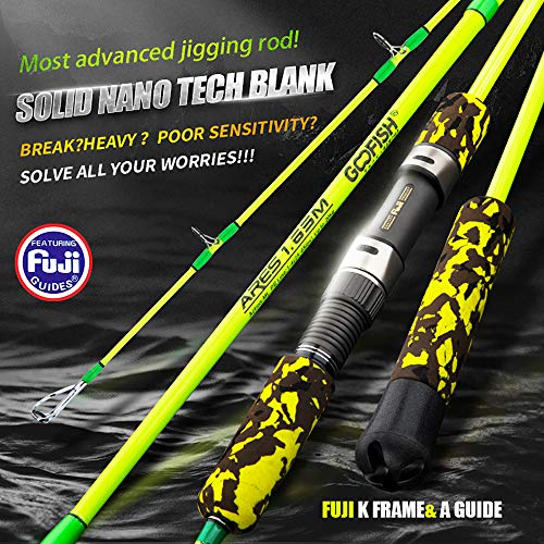 GOOFISH Solid Nano Tech Speed Jigging Rod with Fuji A Guide K Frame (Spinning Model, 165cm)