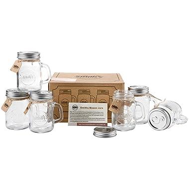 Set of 6 x 16oz Mason Jar Mugs with Lids, Great Mason Jar Old Fashioned Glasses. Summer and Holiday Drinking glass | Smith's Mason Jars