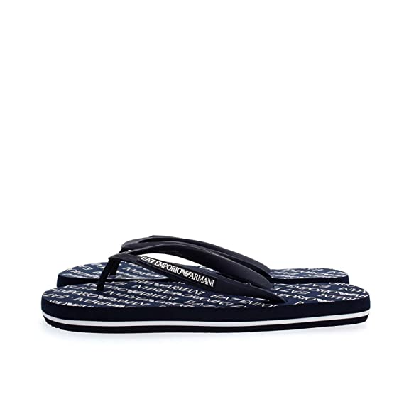 95b55f970 Emporio Armani EA7 men s rubber flip flops sandals sea world all aver blu   Amazon.co.uk  Clothing