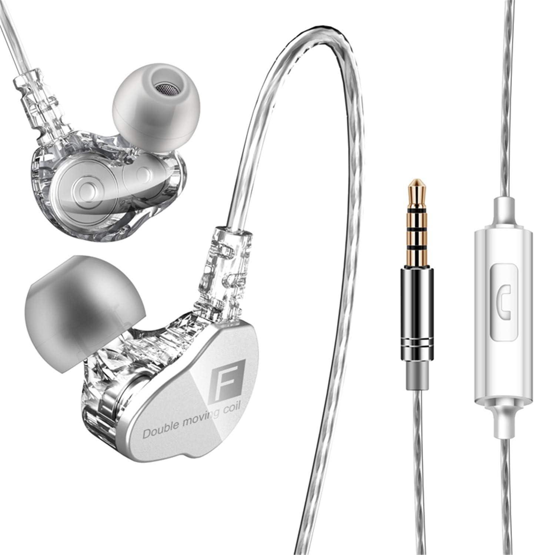 Auriculares con Cable Sonido estéreo Auriculares intrauditivos con Auriculares de 3.5 mm, Sistema de cancelación de Ruido y Sonido Envolvente. Compatibles con iOS Sistema,Samsung,Android y PC - Plata