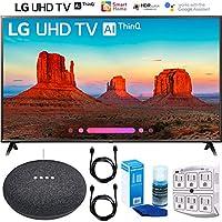 LG 55UK6300 55 UK6300 4K HDR Smart LED AI UHD TV w/ThinQ (2018) Google Home Mini Bundle