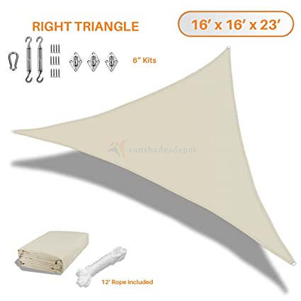 Sunshades Depot 16'x16'x23' Right Triangle Waterproof Knitted Shade Sail  With 6 inch Kit Curved Edge Beige 220 GSM UV Block Shade Fabric Pergola