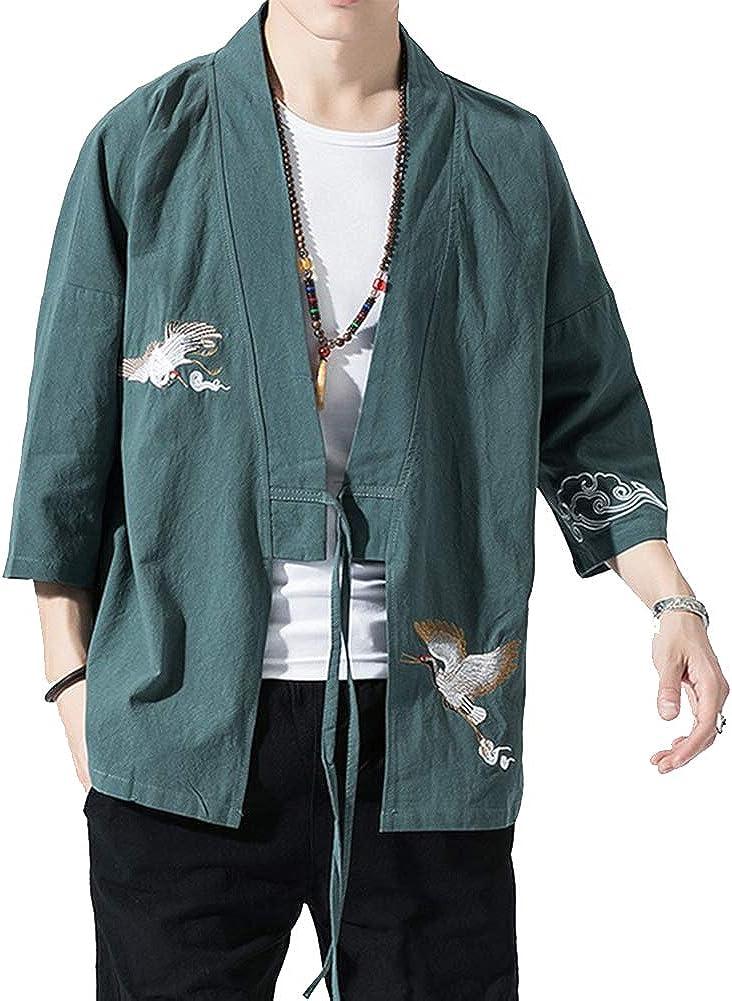 Hommes R/étro Kimono Veste De Costume Tang en Lin /À Manches Courtes Cardigan Broderie Manteau