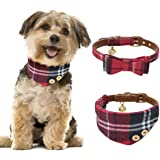 Cat Collar Small Dog Collar with Bell Leather and Plaid Bowtie Bandana Adjustable Collars for Puppy Dogs Cats Kittens 2…