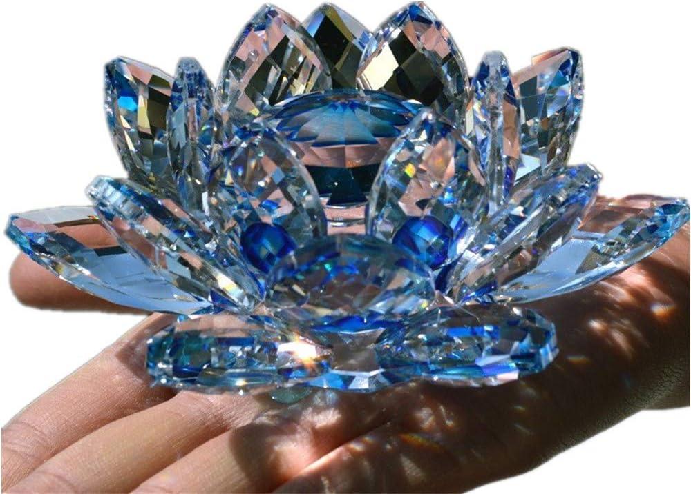 TYGJB Cristal de Cuarzo Fino Cristal de Lotus Flor de Loto Piedras Naturales y minerales Feng Shui Esfera Cristales Flores para Recuerdos de Boda (Azul)
