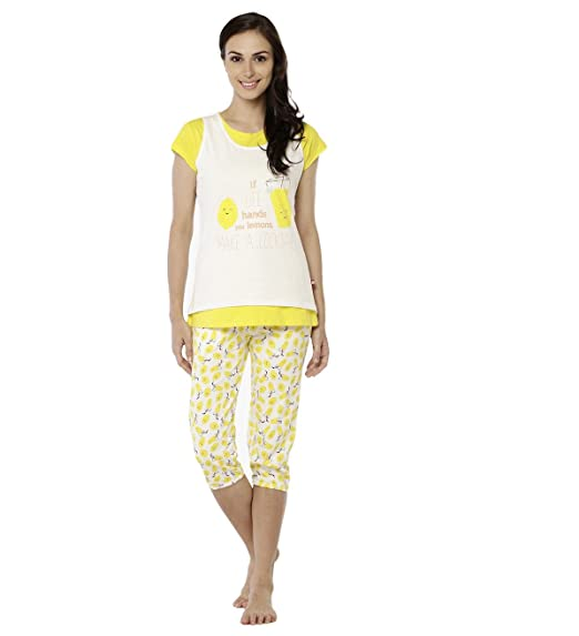 ee1267d1d9 Nightwear for Women - Night Suit - Summer Wear - Top   Capri Combo Set -  Sinker Material - White and Yellow Color - Half Sleeves - Branded Valentine  Women s ...