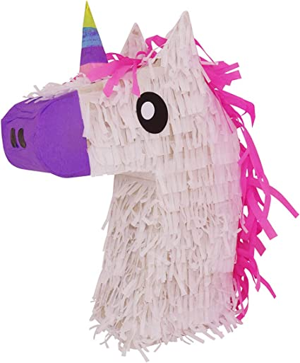 Amazon.com: Piñata de cabeza de unicornio Lutema con pelo ...