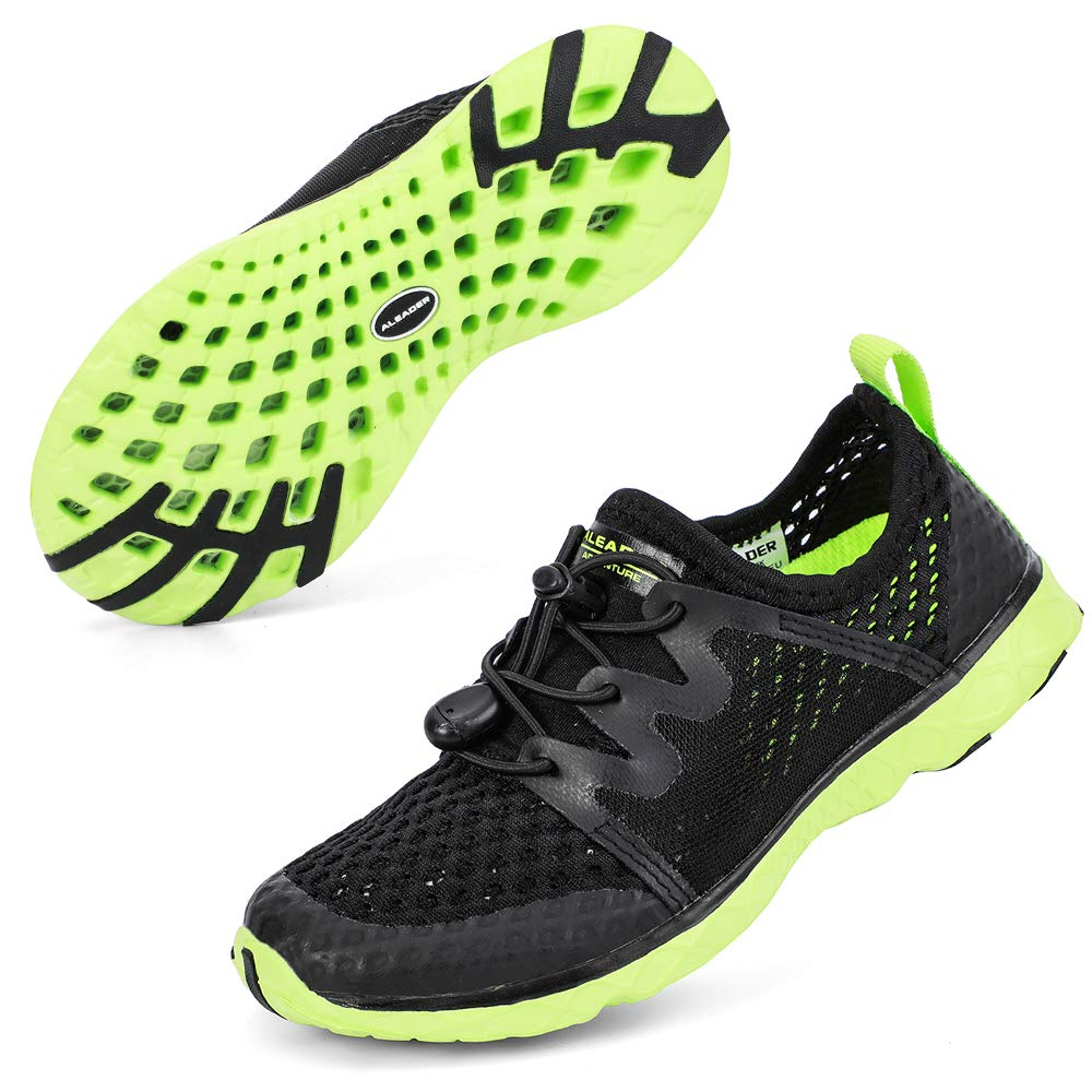 ALEADER Boys Water Shoes Kids Comfort Walking Shoes Youth Fashion Sneakers Black/Green 3 M US Little Kid