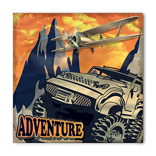 Adventure Bandana by Ambesonne, Grunge Retro Poster of a Big Car with Huge Tyres and Biplane on the Mountains, Printed Unisex Bandana Head and Neck Tie Scarf Headband, 22 X - Tyre Dye