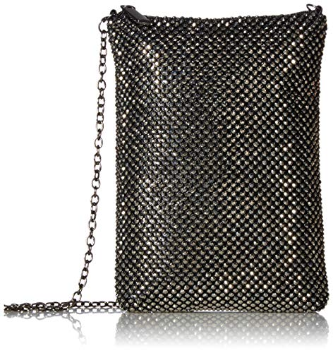 Jessica McClintock Gina Top Zip Mesh Evening Bag, Pewter (Clutch Sequin Mesh)
