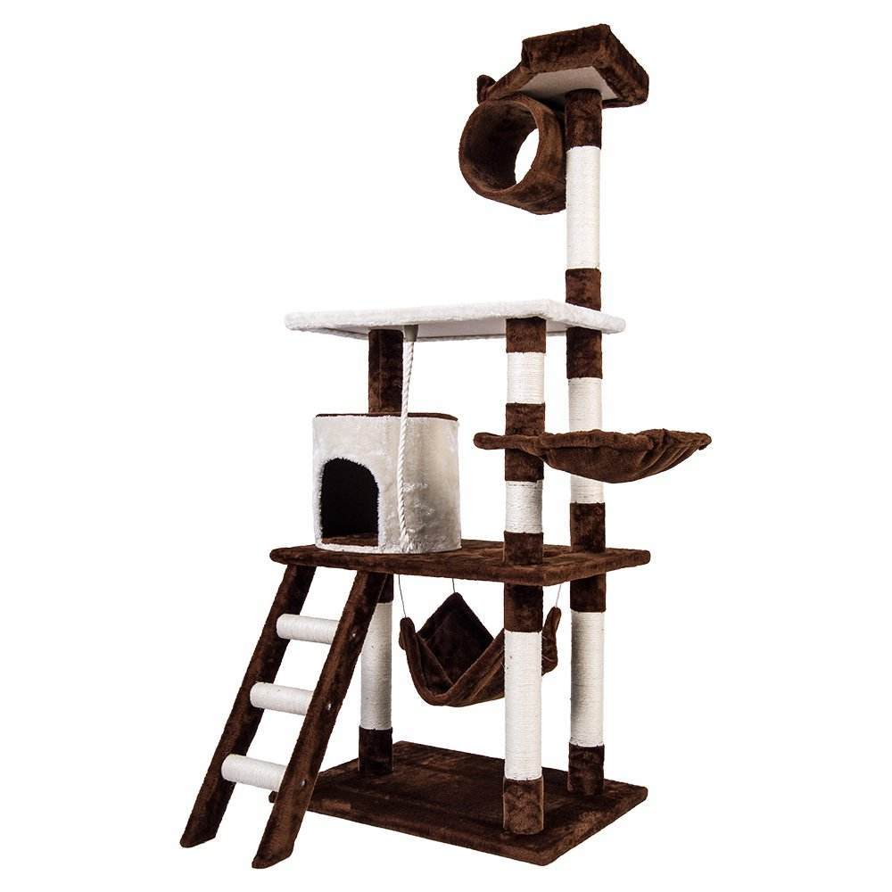 Merax Cat Tree Scratcher Play House Condo Furniture (Coffee and White_1)
