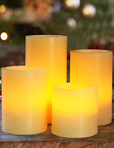 HOME MOST Set of 4 Real Wax LED Pillar Candles Timer Smooth Edge, Ivory, 3 4 5 6 Tall – Ivory Candles Pillar Set – Real Wax Candles Pillars LED Candles Bulk – Flameless Candles Timer Flickering
