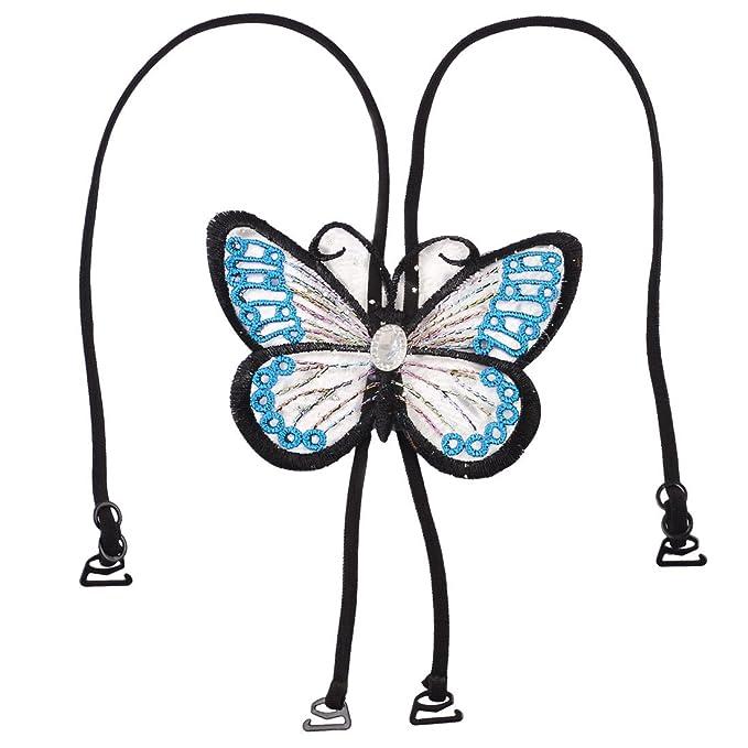Con cristales Decor negro bordado sujetador deportivo de mariposa de color azul lencería correa de sujeción para diseño de mujer: Amazon.es: Ropa y ...