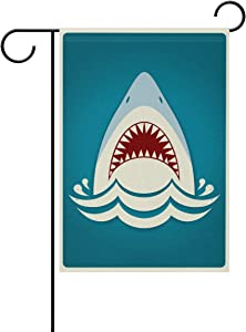 "Hopes's Shark Jaws Garden Flag 12""X18"" Two Sided Yard Decoration Polyester Outddor Flag"