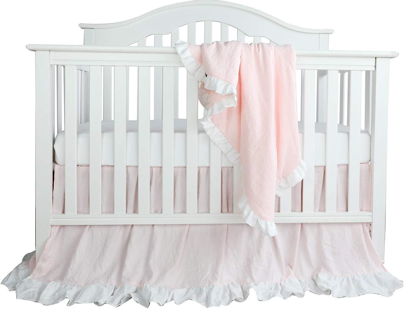 Blush Coral Pink Ruffle Crib Bedding Set Baby Girl Bedding Blanket Nursery Crib Skirt Set Baby Girl Crib Bedding Sheet Lt Coral 3 Pieces Set Kitchen Dining
