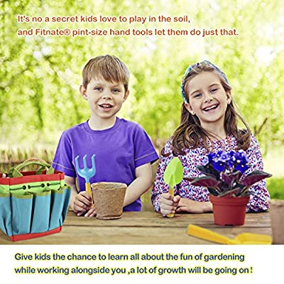 FITNATE Green Kids Garden Tools Set,6 PCS Garden Tools Including Watering Can, Shovel, Rake, Fork, Children Gardening Gloves and Garden Tote Bag, All in One Set: Toys & Games