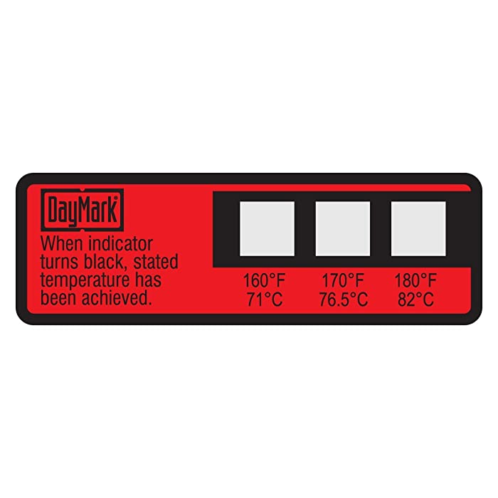 DayMark Dishwasher Temperature Labels, 160 Degree F/170 Degree F/180 Degree F (Pack of 24)