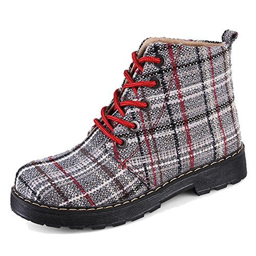 Thicker 4 Martin Flat Boots Mujeres Warm cortos 36 Canvas Ankle zapatos Shoelace gntqvWAv