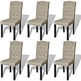 vidaXL Lot de 6 chaises salle à manger salon beige