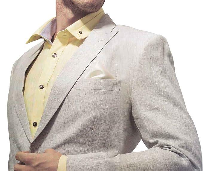 INMONARCH para hombre tradicional traje de lino natural LS15 ...