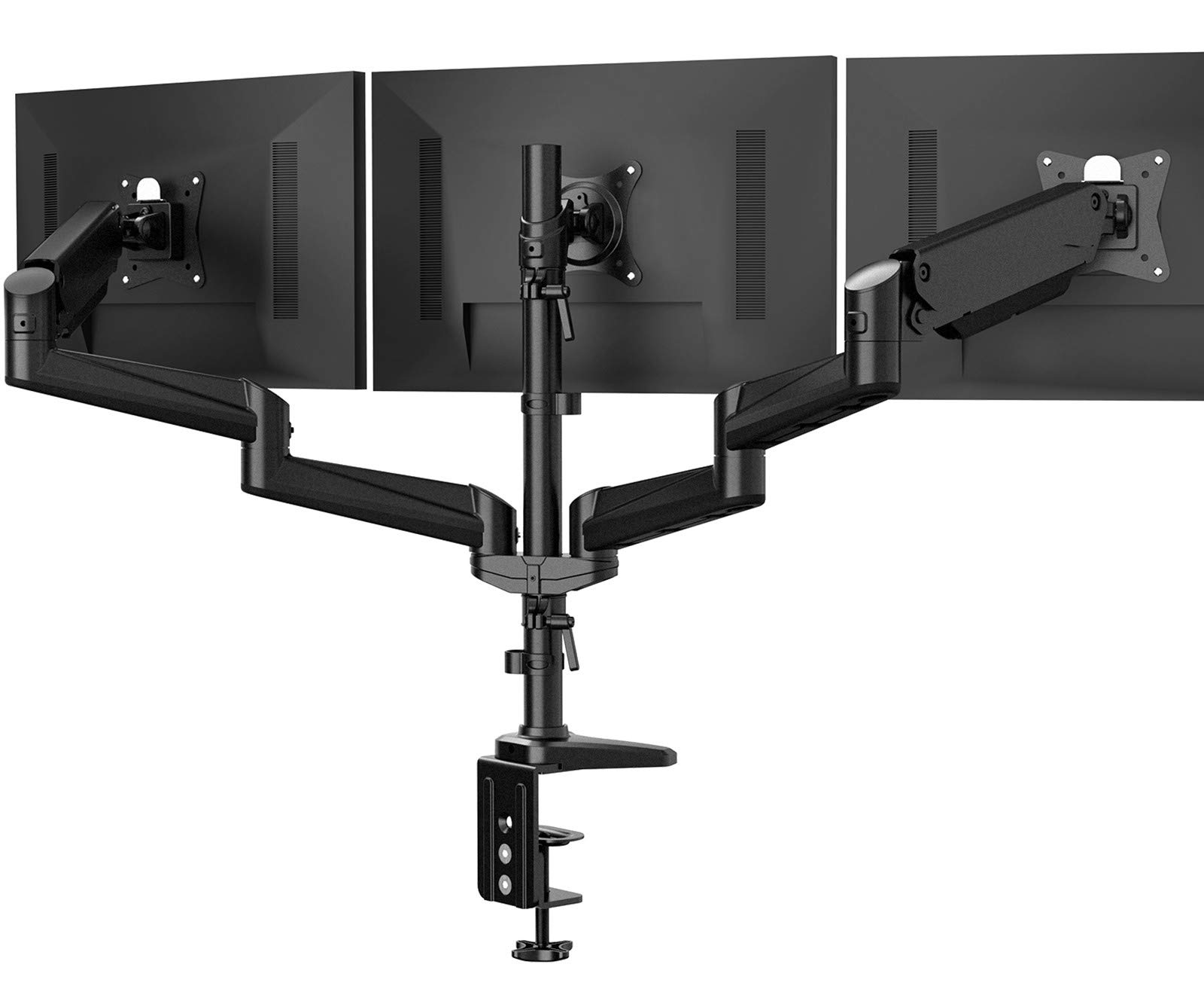 Triple Monitor Stand - Full Motion Articulating Aluminum Gas Spring Monitor Mount Fits Three 17 to 32 inch Flat/Curved LCD Computer Screens with Clamp, Grommet Kit, Black